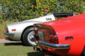 Red silver Ferrari dino line up 03 Royalty Free Stock Photo
