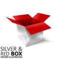 Red and silver open box 3D/ illustration