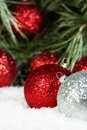 Red Silver Ornaments Pine Snow Royalty Free Stock Photo