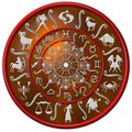 Red and silver zodiac disc Royalty Free Stock Photo