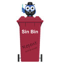 Red sin bin comical and vicar isolated on white background Royalty Free Stock Images