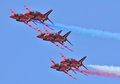 Red six in close formation arrows very Royalty Free Stock Photo