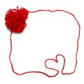 Red skein with heart  for crochet Royalty Free Stock Photo