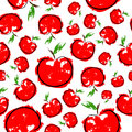 Red sketch apple seamless pattern Royalty Free Stock Photo