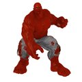 Red skinned comic book style mutant villain huge disproportionally muscled and in fighting pose Royalty Free Stock Photography