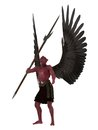 Red skinned winged demon with skin and black wings with trident like pole weapon isolated on white Stock Photos