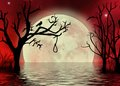 Red sky with rope fantasy moonscape a surreal background a and a crow skinny trees reflecting in the water Royalty Free Stock Image
