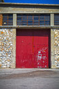 Red sliding doors Royalty Free Stock Photo