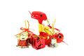 The red snake symbol of new year, among the toys  Royalty Free Stock Image