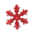 Red snow flake ornament isolated on white Stock Photography