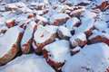 Red snow rock Royalty Free Stock Images