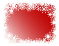 Red snowflakes frame Stock Photo