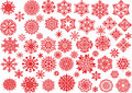 Red snowflakes set on white collection background Stock Images