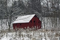 Red Snowy Barn Royalty Free Stock Photo