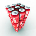 Red soda cans tower Royalty Free Stock Image