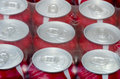 Red soda cans wrapped in a plastic foil Royalty Free Stock Images