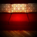 Red Sofa With Decorative Cushi...