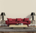 Red sofa in a modern contemporary living room Royalty Free Stock Photo