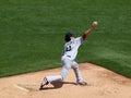 Red sox zaczynający pitcher gliniany buchholz rzuca piłkę w ławka rezerwowych b Fotografia Stock