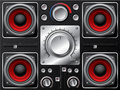 Red speakers with amplifier and knobs Royalty Free Stock Photography