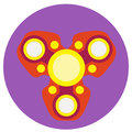 Red spinner with yellow circles a flat style. Vector image on a round purple background. Element of design, interface