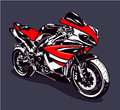 Red sport motorbike isolated on dark background vector illustration Stock Images