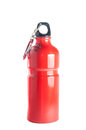 Red sports bottle metal resusable environment safe isolated over white background Stock Photo