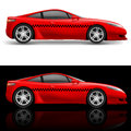 Red sports car taxi illustration on white and black background Royalty Free Stock Image