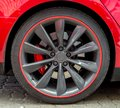 Red sports car wheel. Royalty Free Stock Photo