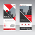 Red square Business Roll Up Banner flat design template ,Abstract Geometric banner template Vector illustration set, abstract