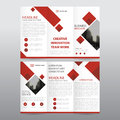 Red square business trifold Leaflet Brochure Flyer report template vector minimal flat design set, abstract three fold