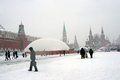 Red Square at snowstorm in Moscow Royalty Free Stock Photo