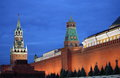 Red square of moscow by night kremlin at Royalty Free Stock Photography