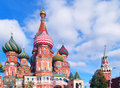 Red square moscow russia saint basil cathedral and clock tower Stock Image