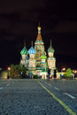 Red square in night moscow russia intercession cathedral at Stock Photos