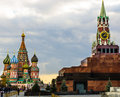 Red square and st basil chapel view from on church cloudy day Stock Photo