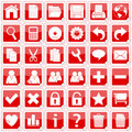 Red Square Stickers Icons [1] Royalty Free Stock Photo