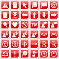 Red Square Stickers Icons [2] Royalty Free Stock Photo