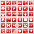 Red Square Stickers Icons [3] Royalty Free Stock Photo