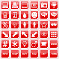Red Square Stickers Icons [4] Royalty Free Stock Photo
