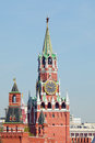 The red square tower spasskaya of kremlin on in moscow russia Stock Photography