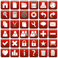Red Square Web Buttons [1] Royalty Free Stock Photography