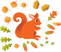 Red squirrel with leaves Royalty Free Stock Image