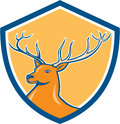 Red stag deer head shield cartoon illustration of a buck facing side set inside crest on isolated background done in style Royalty Free Stock Image