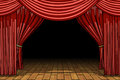 Red stage theater velvet drapes Royalty Free Stock Photo