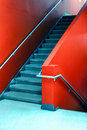 Red stairs. Royalty Free Stock Photo