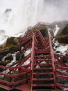 Red stairs below the niagara falls to view from we must first descend those Stock Photo