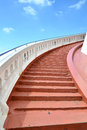 Red stairs to the top of the tower Royalty Free Stock Photos