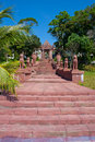 Red stairt to the temple in sihanoukville cambodia Royalty Free Stock Photography