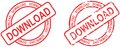 Red stamp download text circle set in  format Royalty Free Stock Photo
